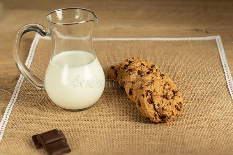 Chocolate cookies and jug of milk delicious traditional food snack stock image