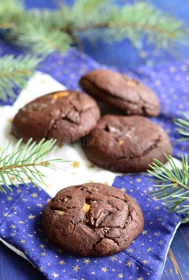 Chocolate cookies with peanut butter royalty free stock photography