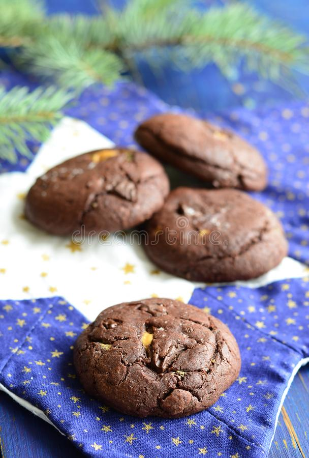 Chocolate cookies with peanut butter stock image