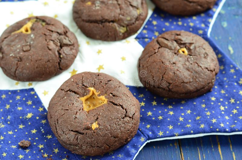 Chocolate cookies with peanut butter stock photography