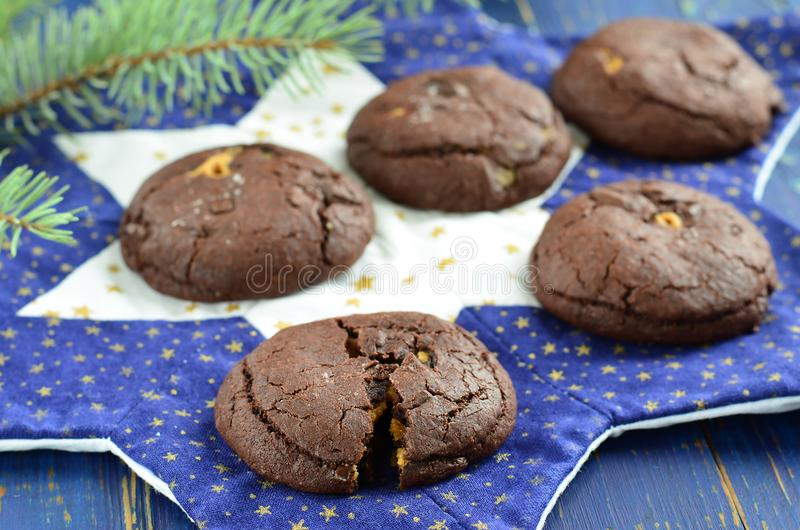 Chocolate cookies with peanut butter stock photos