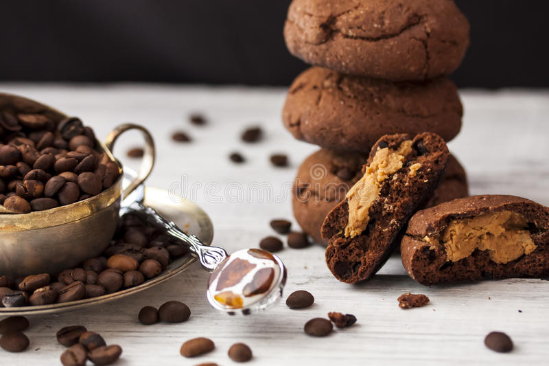 Chocolate cookies with peanut butter royalty free stock image