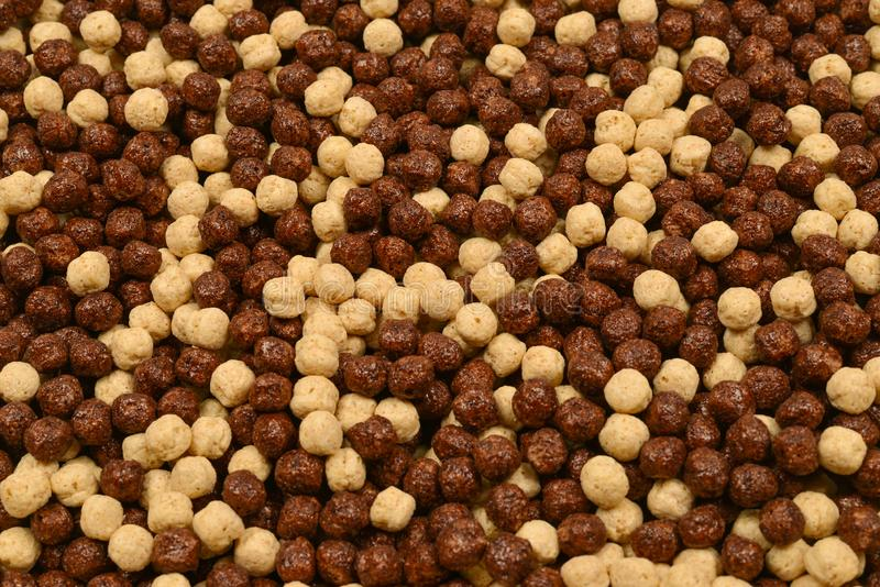 Chocolate corn flakes  as a background. Top view. Top view stock photos