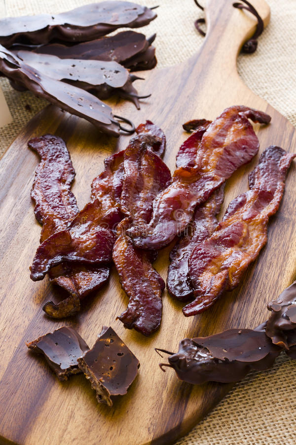Chocolate covered bacon. With salt royalty free stock image