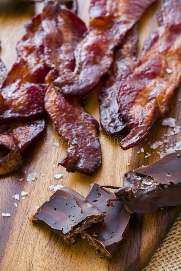 Chocolate covered bacon. With salt royalty free stock images
