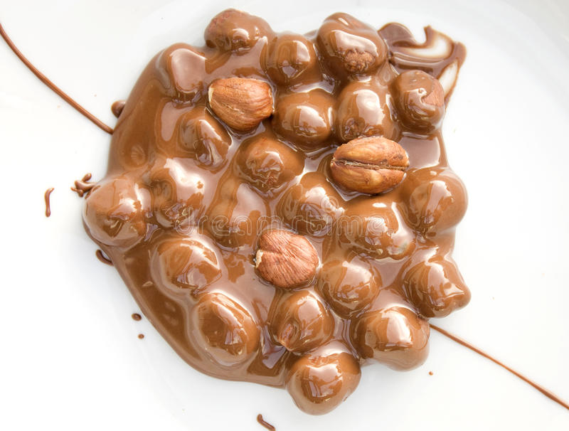 Chocolate covered hazelnuts. On a white plate stock image
