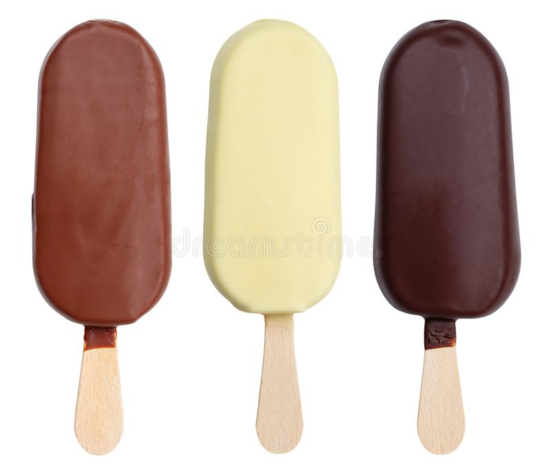 Chocolate covered ice cream collection on a stick icecream ice-cream summer isolated on white stock photo
