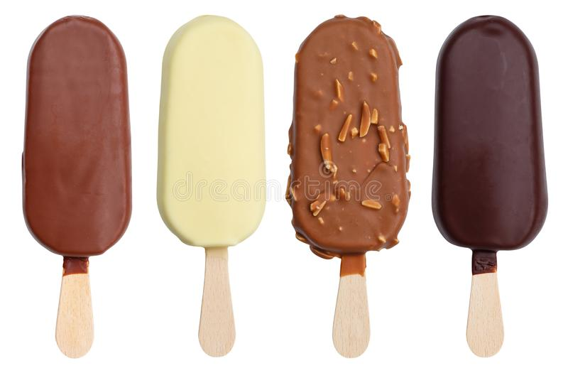 Chocolate covered ice cream flavor variety collection on a stick. Icecream ice-cream isolated on a white background royalty free stock photography