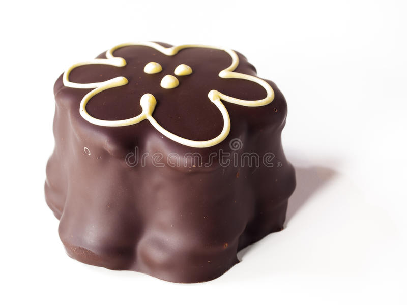 Chocolate Covered Marshmallows. Gourmet chocolate covered passion fruit marshmallows on white background stock images