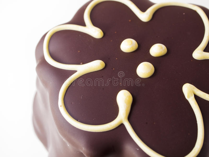 Chocolate Covered Marshmallows. Gourmet chocolate covered passion fruit marshmallows on white background stock photo