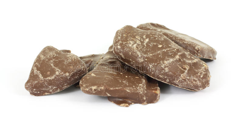 Chocolate covered peanut brittle stock photo
