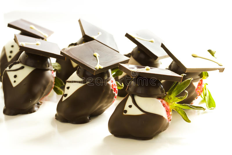 Chocolate covered strawberries. Gourmet chocolate covered strawberries decorated for graduation party stock photography