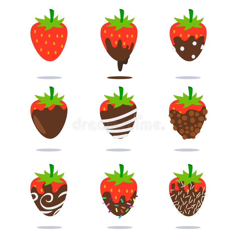 Chocolate Covered Strawberries Vector Icon Set Stock Vector Illustration Of Design Leaf 173603047