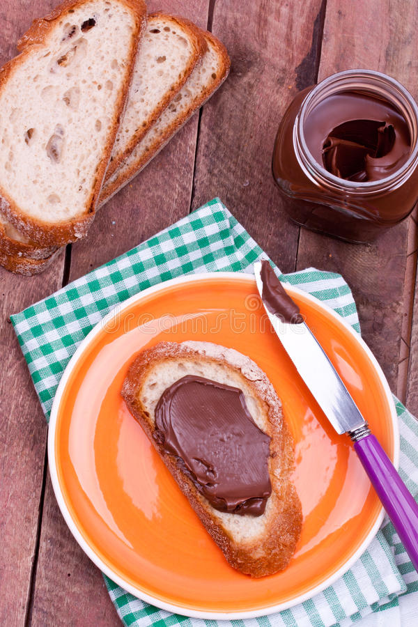 Chocolate cream and bread royalty free stock photos