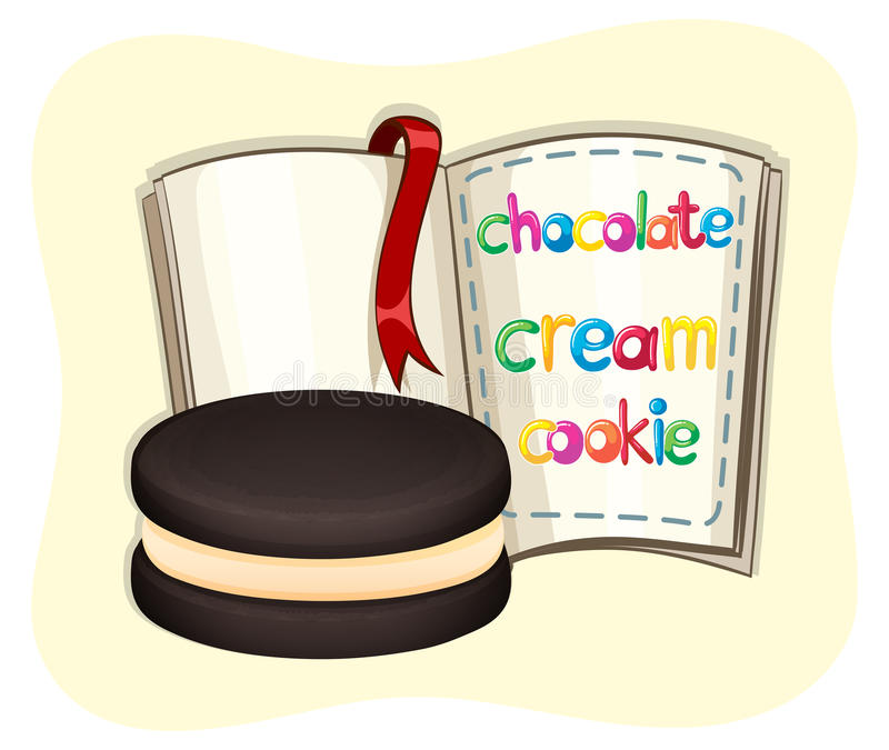 Chocolate cream cookie and a book vector illustration