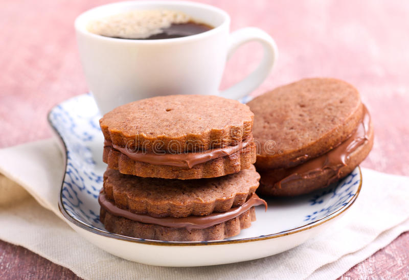 Chocolate cream sandwich biscuits royalty free stock photos