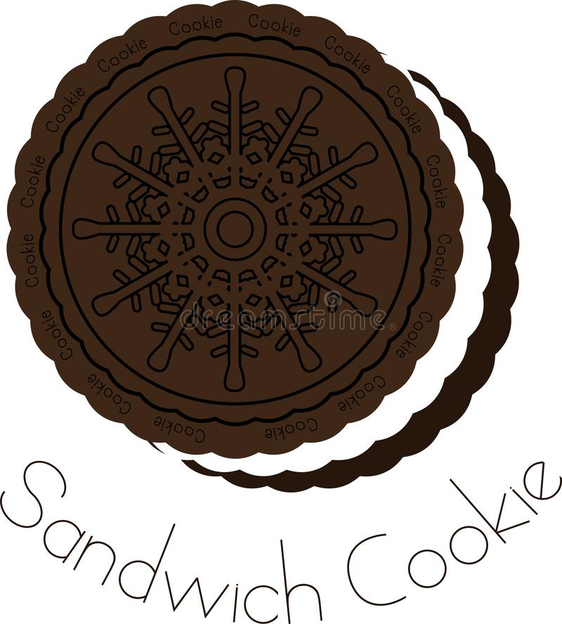 Chocolate and cream sandwich cookie royalty free illustration