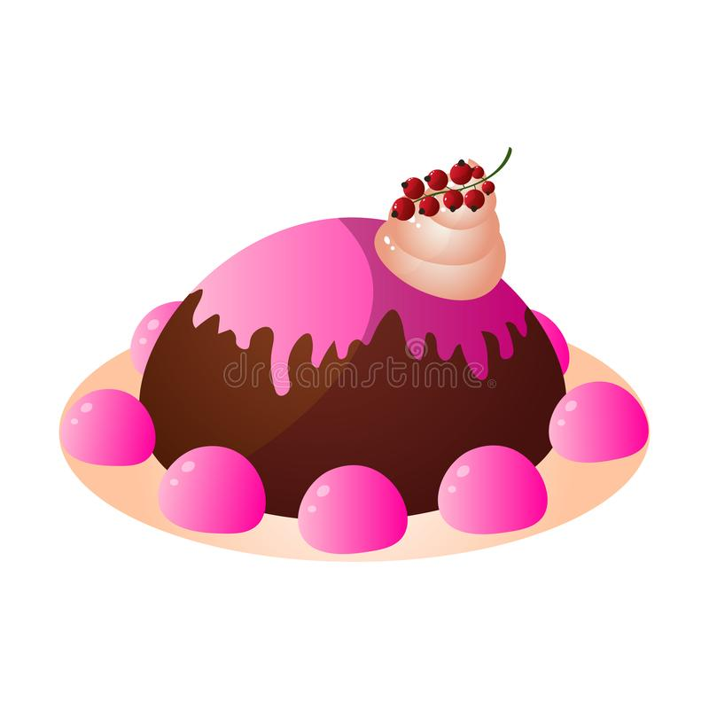 Chocolate creamy cake with pink jelly sweets and berry vector illustration