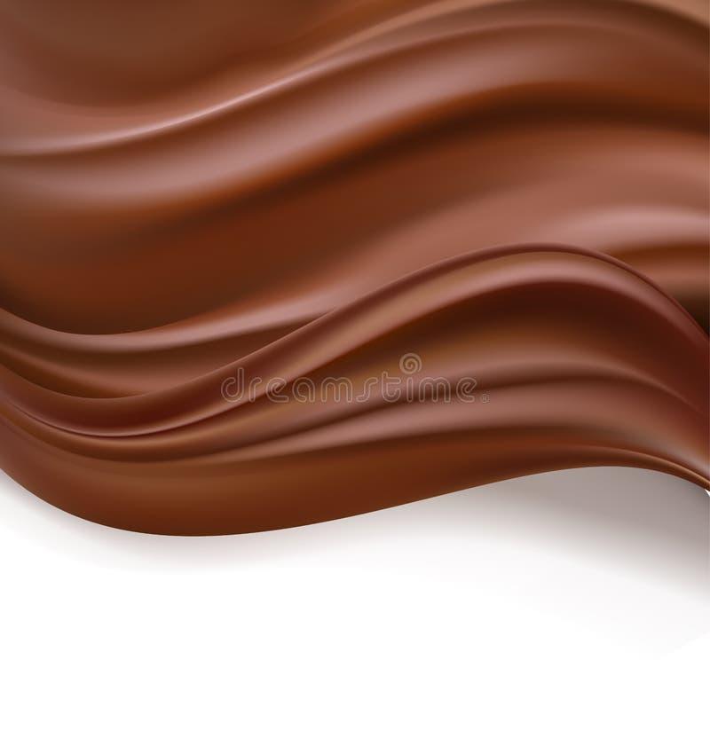 Chocolate cremoso sobre el fondo blanco fondo dulce de la plantilla del diseño de la comida crema oscura ondulada deliciosa del c stock de ilustración