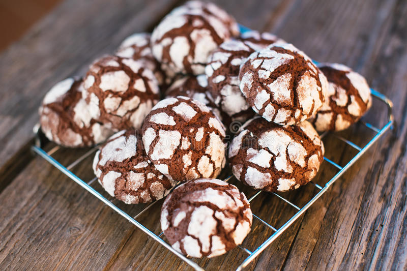 Chocolate Crinkles. Chocolate cookies in powdered sugar stock photos