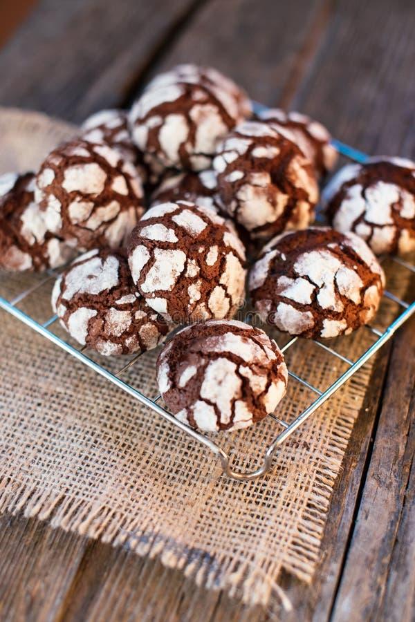 Chocolate Crinkles. Chocolate cookies in powdered sugar royalty free stock image