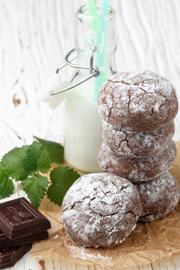 Chocolate Crinkles. cookies with powdered sugar. Selective focus stock photo