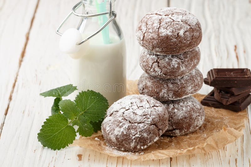 Chocolate Crinkles. cookies with powdered sugar. Selective focus stock image