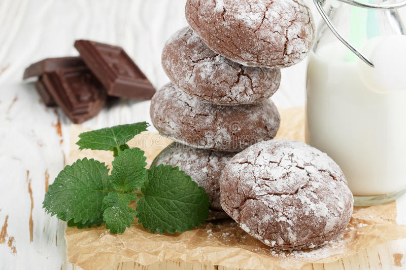Chocolate Crinkles. cookies with powdered sugar. Selective focus royalty free stock photography