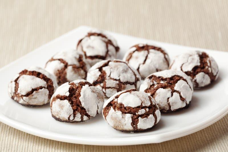 Chocolate crinkles on a plate. Homemade chocolate crinkles on a white square plate, shallow dof stock photo