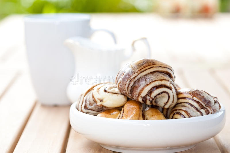 Download Chocolate Croissant In An Outdoor Setting. Stock Photo - Image: 12110888