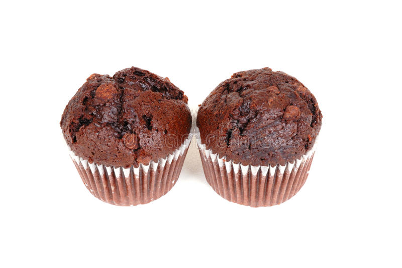 Chocolate cup cakes. Photograph of chocolate cup cakes isolated against white stock photo