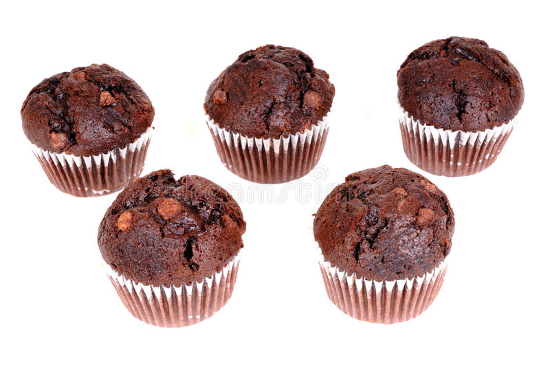 Chocolate cup cakes isolated. Photograph of chocolate cup cakes isolated against white stock image