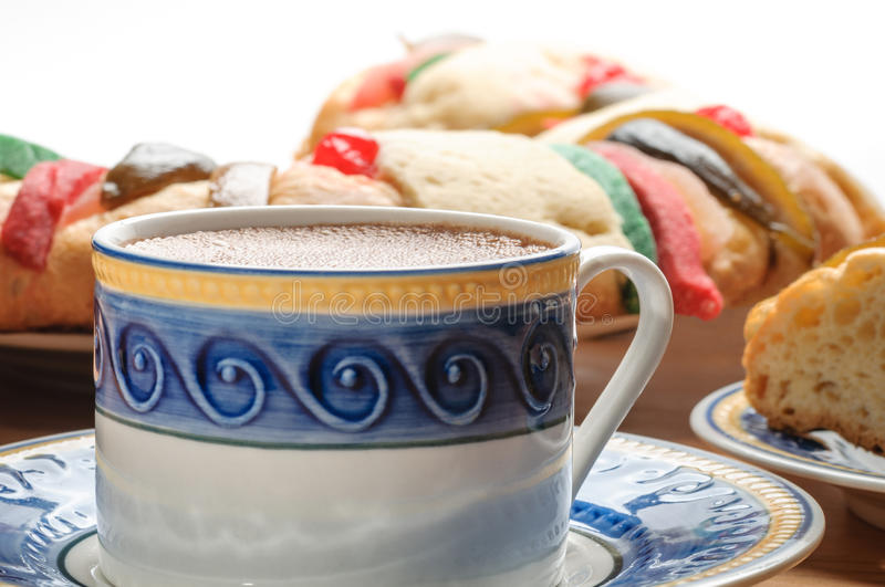 Chocolate cup with Rosca de reyes, Epiphany cake, Kings cake royalty free stock photos