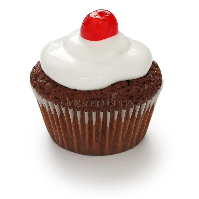 Chocolate cupcake. On white background royalty free stock photography