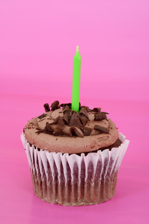 Download Chocolate Cupcake Focus On Candle Stock Image - Image: 27641031