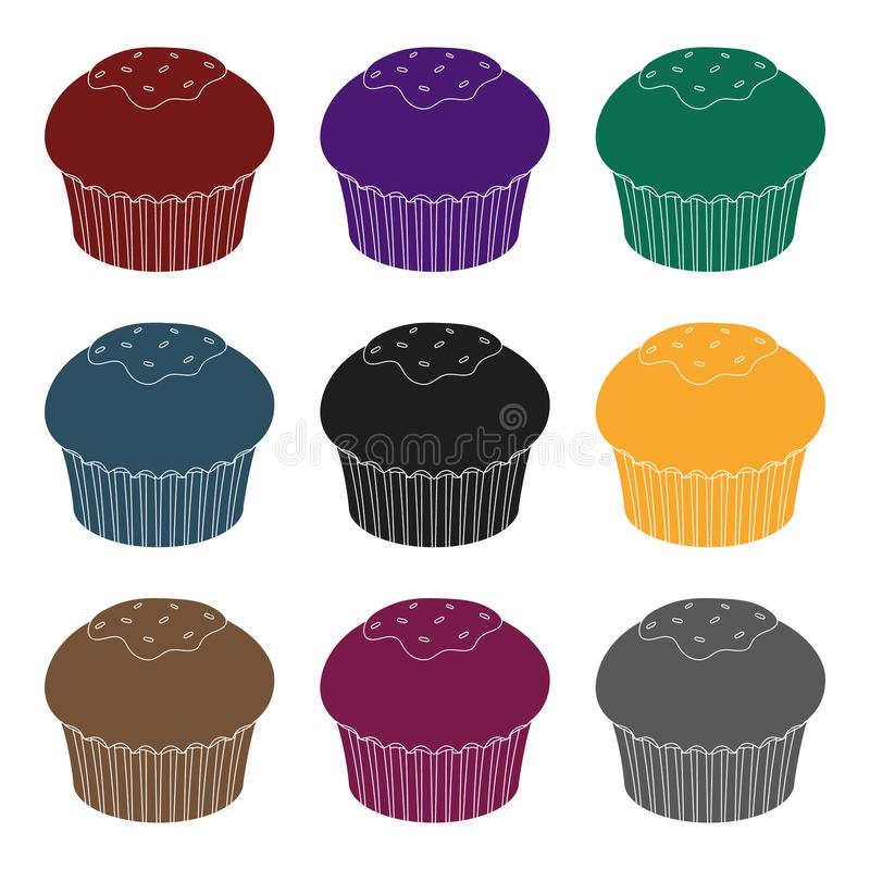 Chocolate cupcake icon in black style isolated on white background. Chocolate desserts symbol stock vector illustration. Chocolate cupcake icon in black design stock illustration