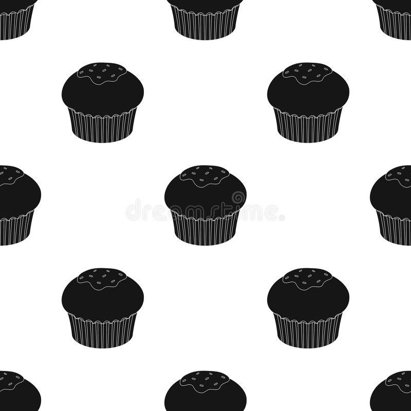 Chocolate cupcake icon in black style isolated on white background. Chocolate desserts symbol stock vector illustration. Chocolate cupcake icon in black design vector illustration