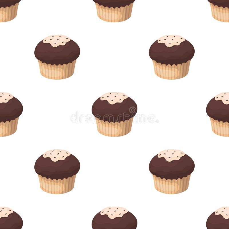 Chocolate cupcake icon in cartoon style isolated on white background. Chocolate desserts symbol stock vector. Chocolate cupcake icon in cartoon design isolated stock illustration