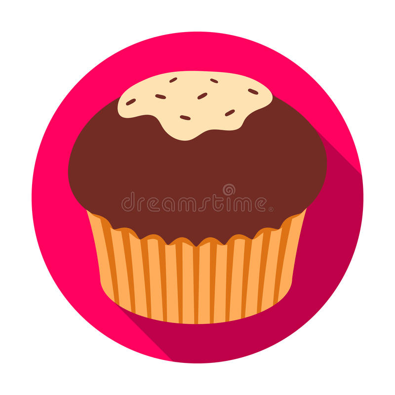 Chocolate cupcake icon in flat style isolated on white background. Chocolate desserts symbol stock vector illustration. Chocolate cupcake icon in flat design stock illustration