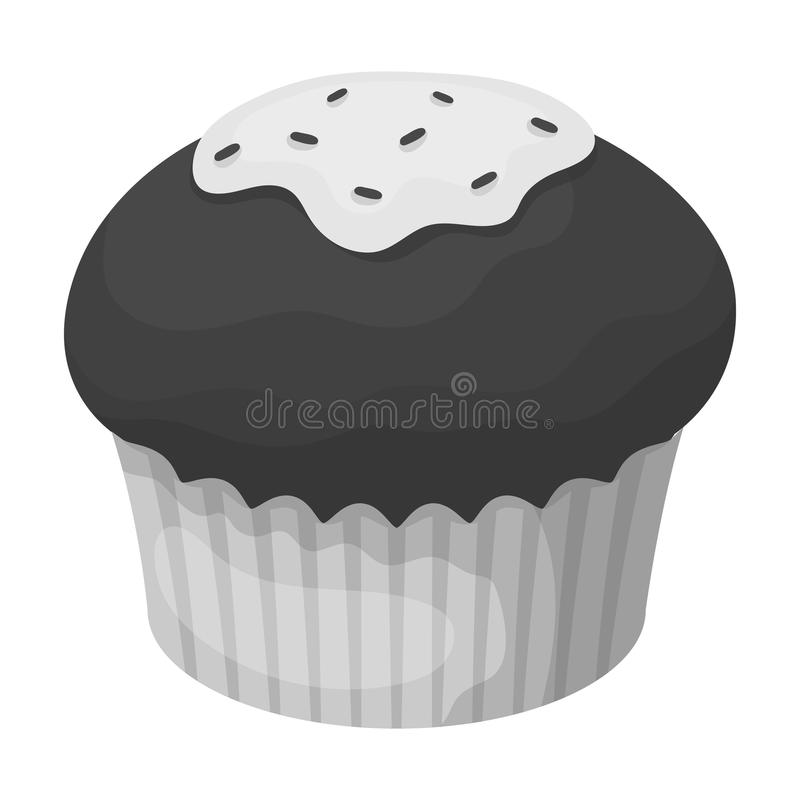 Chocolate cupcake icon in monochrome style isolated on white background. Chocolate desserts symbol stock vector. Chocolate cupcake icon in monochrome design stock illustration