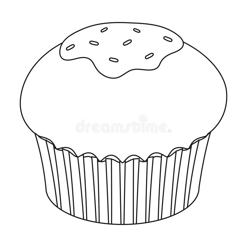 Chocolate cupcake icon in outline style isolated on white background. Chocolate desserts symbol stock vector. Chocolate cupcake icon in outline design isolated royalty free illustration