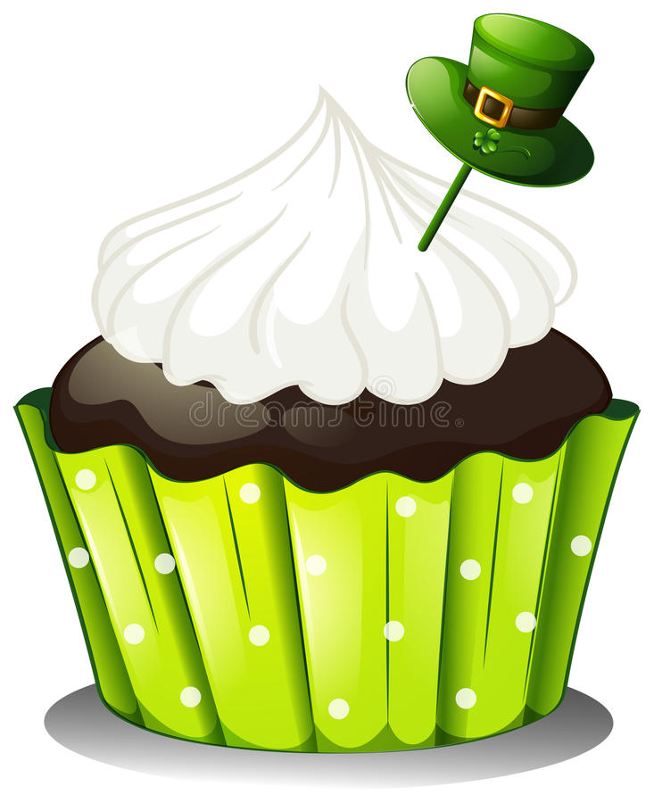 Download A Chocolate Cupcake With A White Icing And A Green Hat Stock Photography - Image: 31791632