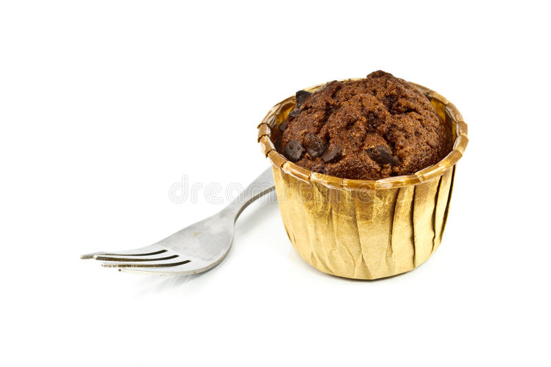 Chocolate Cupcake. With fork isolated on white stock photography