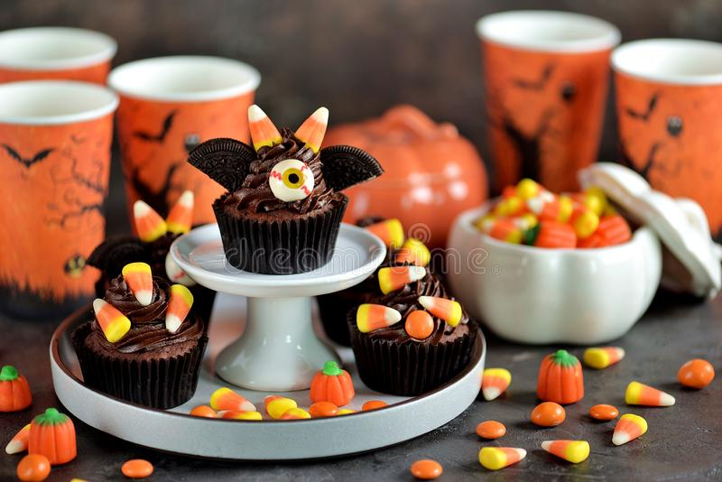 Chocolate cupcakes `bats` - delicious bakery sweets for the celebration of Halloween. royalty free stock images