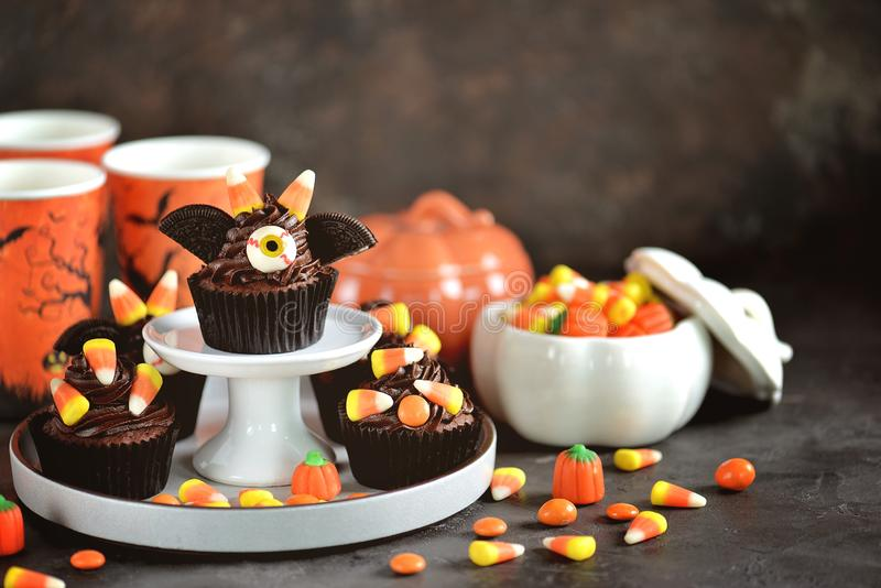 Chocolate cupcakes `bats` - delicious bakery sweets for the celebration of Halloween. stock image