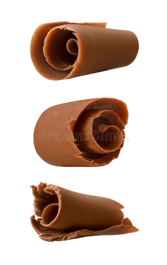 Chocolate Curls isolated on a white backgroun. D. Isolation is on a transparent layer in the PNG format royalty free stock images
