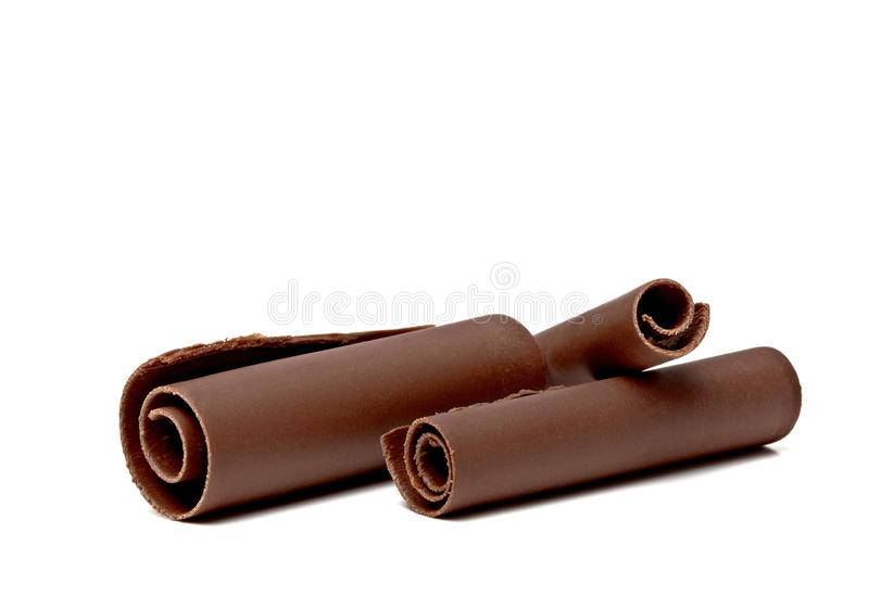 Chocolate curls, parts and bars royalty free stock images