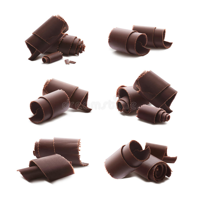 Chocolate curls shavings isolated on white background royalty free stock photo