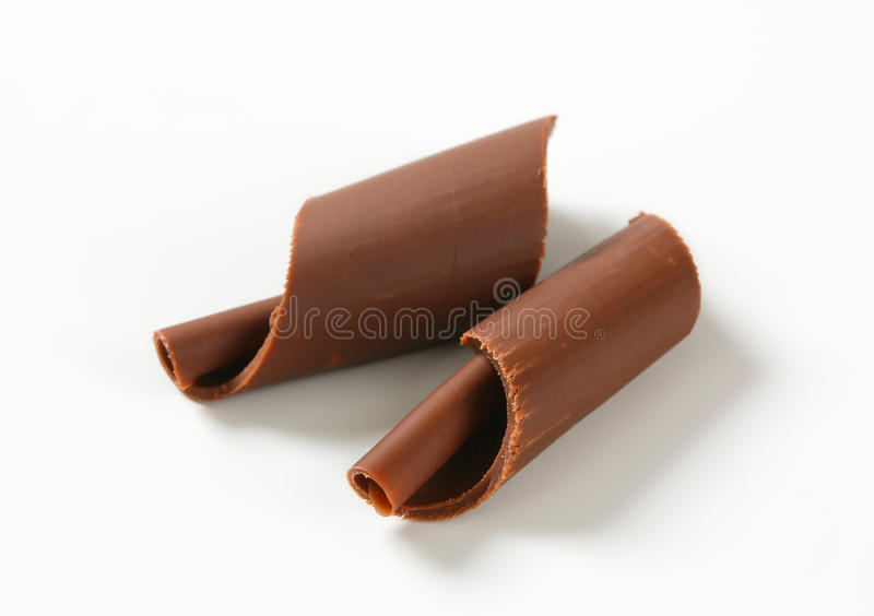 Chocolate curls. On white background stock photography