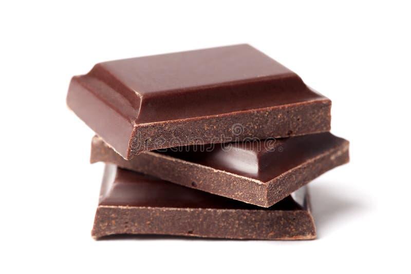 Chocolate da obscuridade de três fatias imagem de stock royalty free